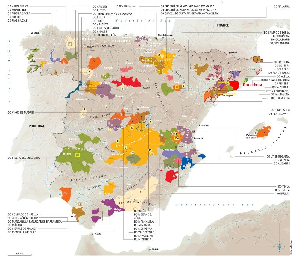 Основные винодельческие регионы Испании